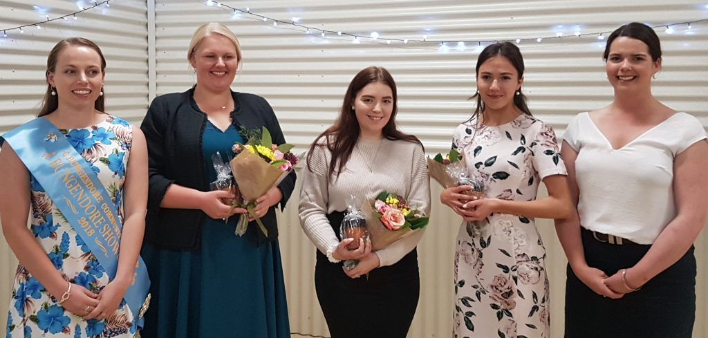 Our 2019 Showgirl entrants with the 2018 Bungendore Showgirl Laura Worden and our Showgirl coordinator Hanna Darmody